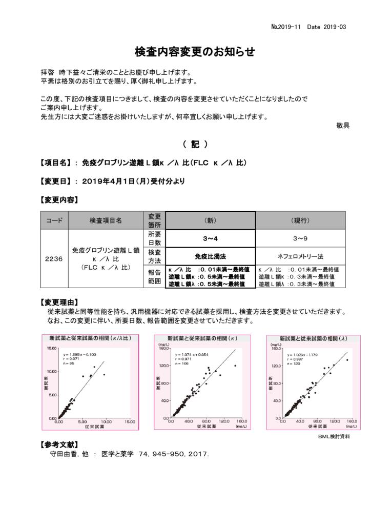 NO-11検査内容変更案内(免疫グロブリン遊離L鎖)のサムネイル