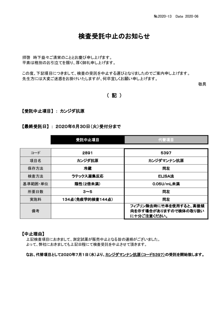 NO-13検査中止案内(カンジダ抗原)のサムネイル
