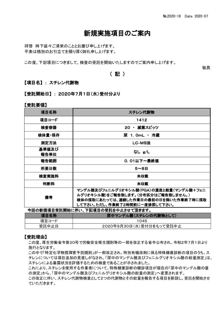 NO-19新規実施項目(スチレン代謝物)のサムネイル