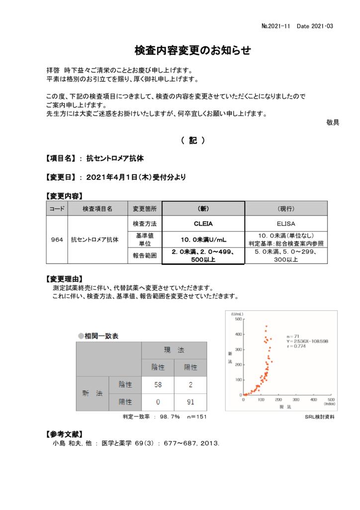NO-11検査内容変更案内(抗セントロメア抗体)のサムネイル