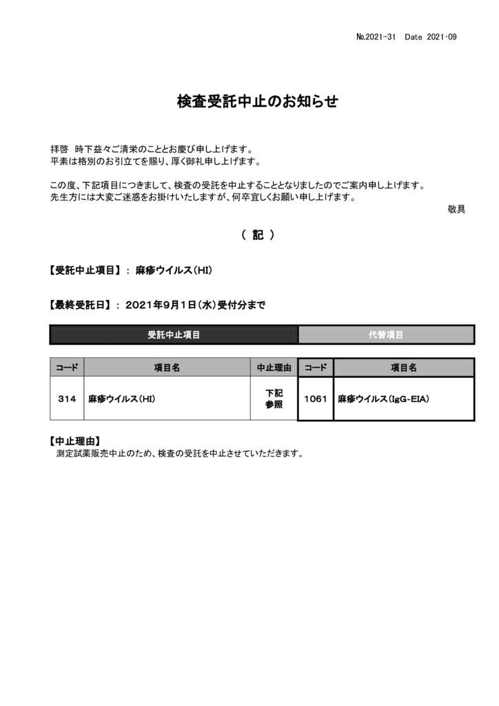 NO-31検査中止案内(麻疹ウイルスHI)のサムネイル
